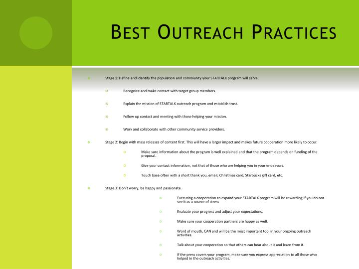 Best Outreach Practices