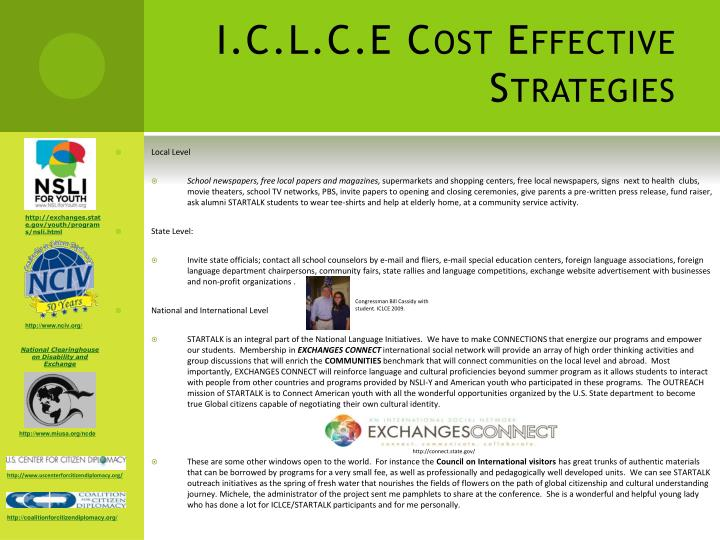 I.C.L.C.E Cost Effective Strategies