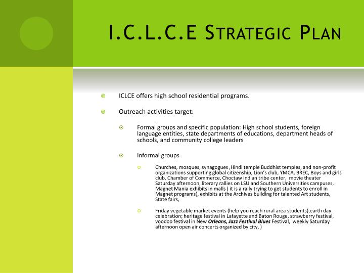 I.C.L.C.E Strategic Plan