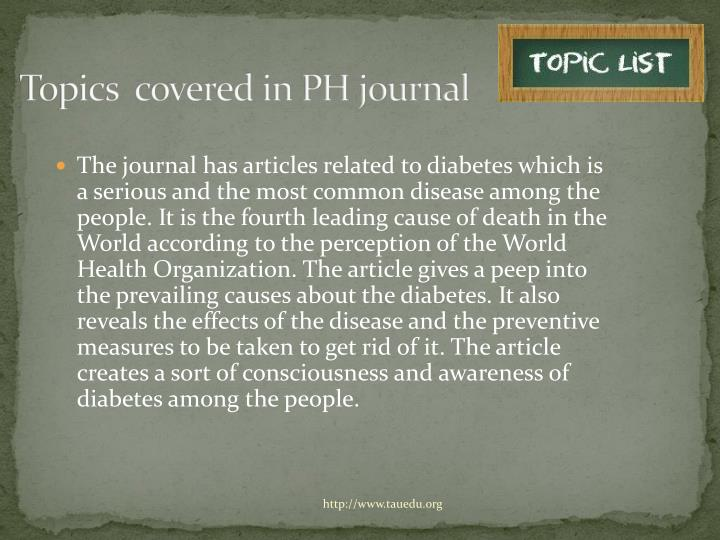 Topics  covered in PH journal