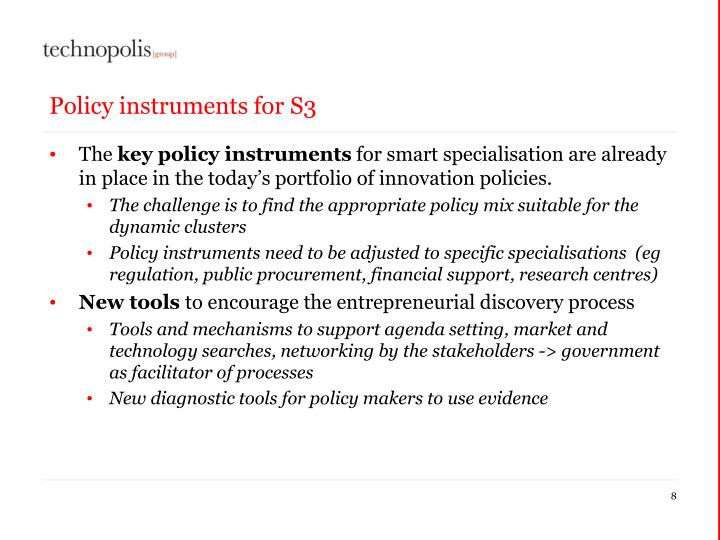 Policy instruments for S3