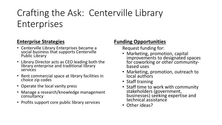 Crafting the Ask:  Centerville Library Enterprises
