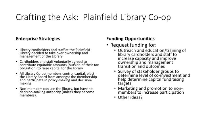 Crafting the Ask:  Plainfield Library Co-op