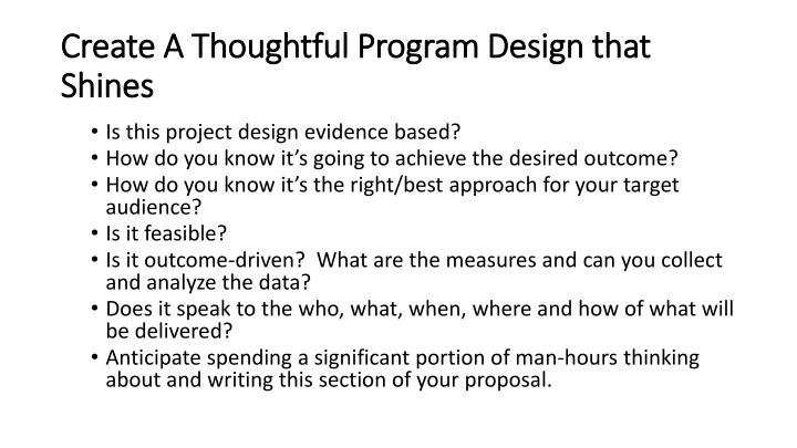 Create A Thoughtful Program Design that Shines