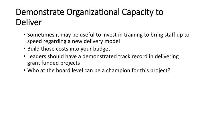 Demonstrate Organizational Capacity to Deliver