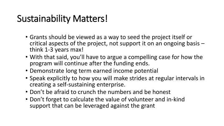 Sustainability Matters!