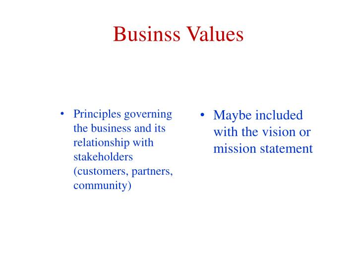 Businss Values