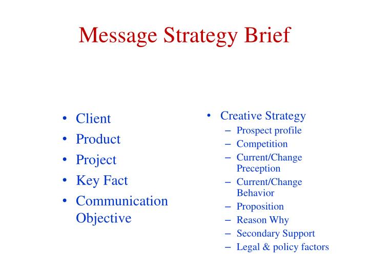 Message Strategy Brief