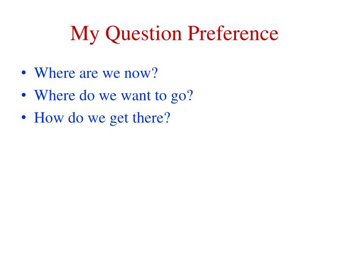 My Question Preference