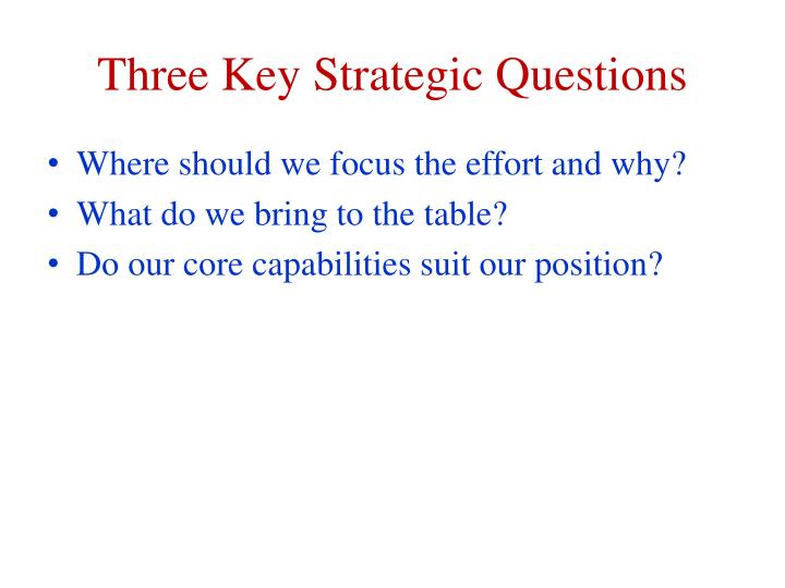 Three key strategic questions