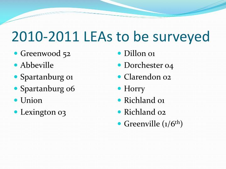 2010-2011 LEAs to be surveyed