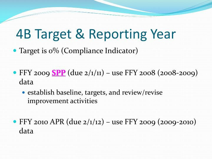 4B Target & Reporting Year