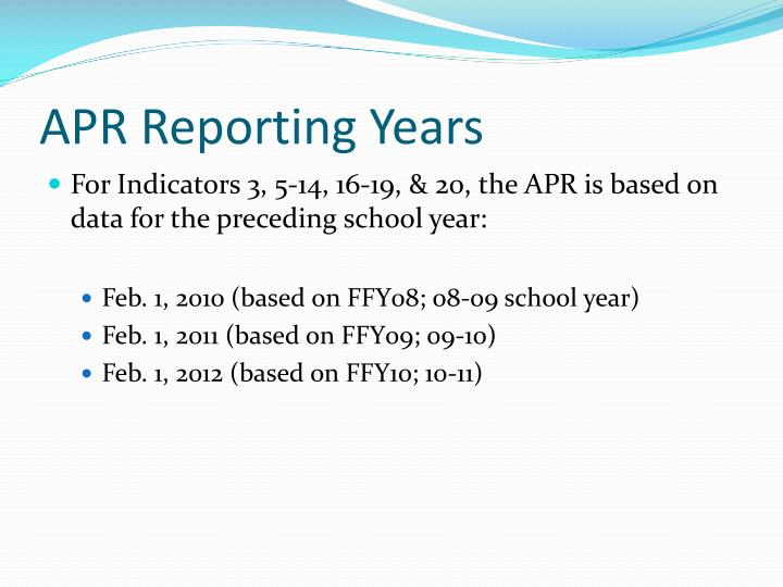 APR Reporting Years