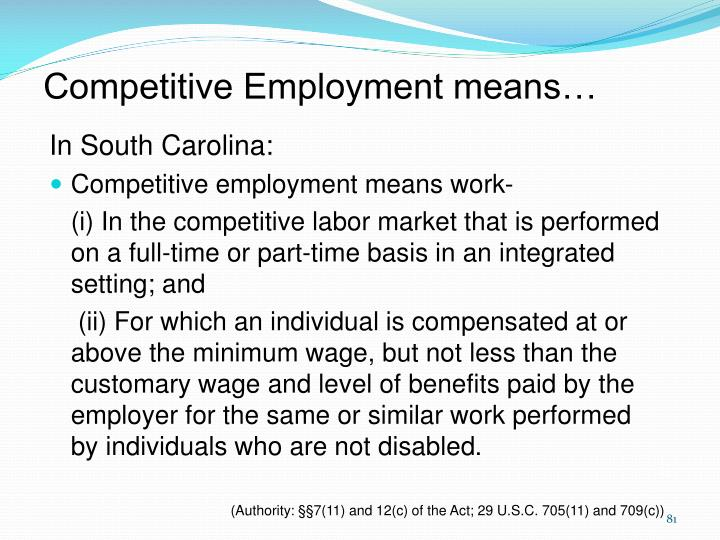 Competitive Employment means…