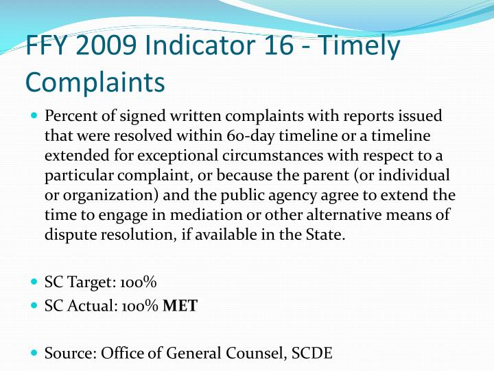 FFY 2009 Indicator 16 - Timely Complaints