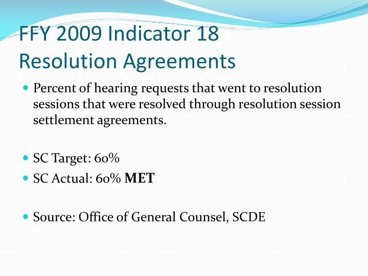 FFY 2009 Indicator 18