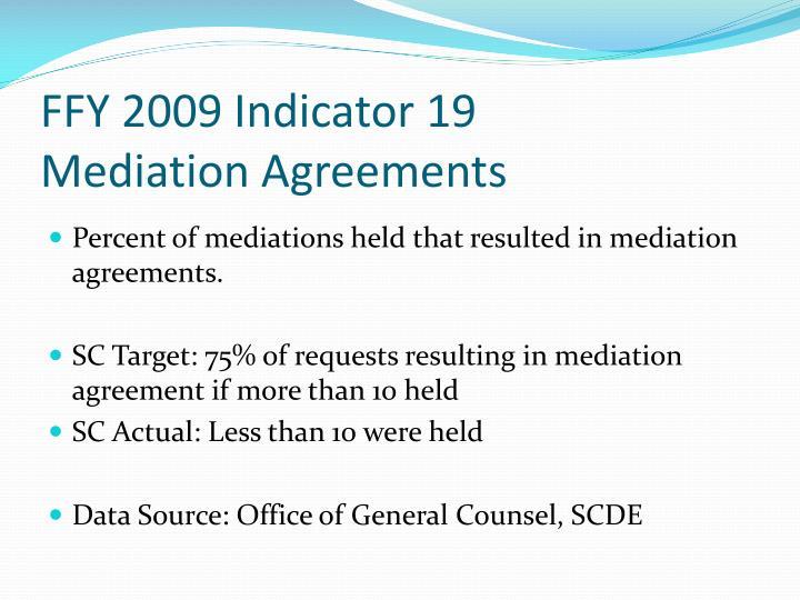 FFY 2009 Indicator 19