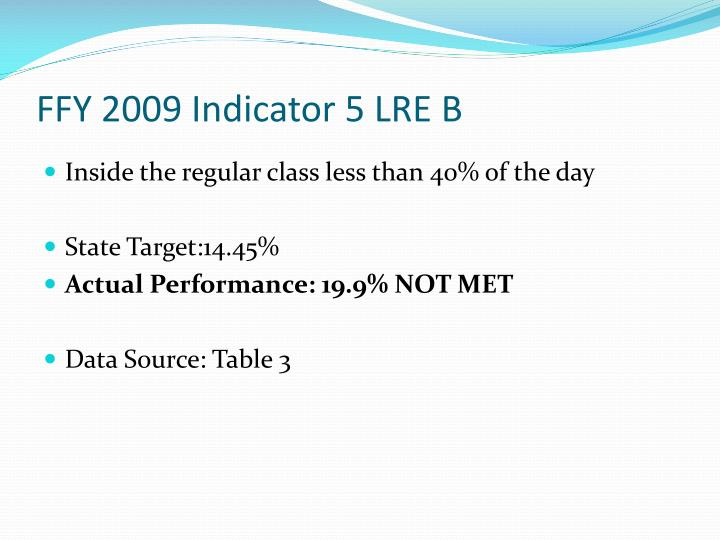 FFY 2009 Indicator 5 LRE B
