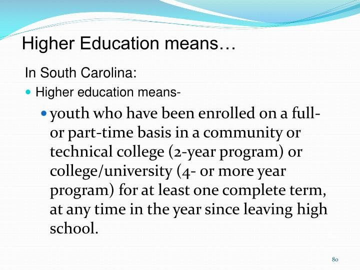 Higher Education means…