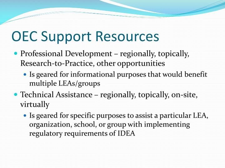 OEC Support Resources