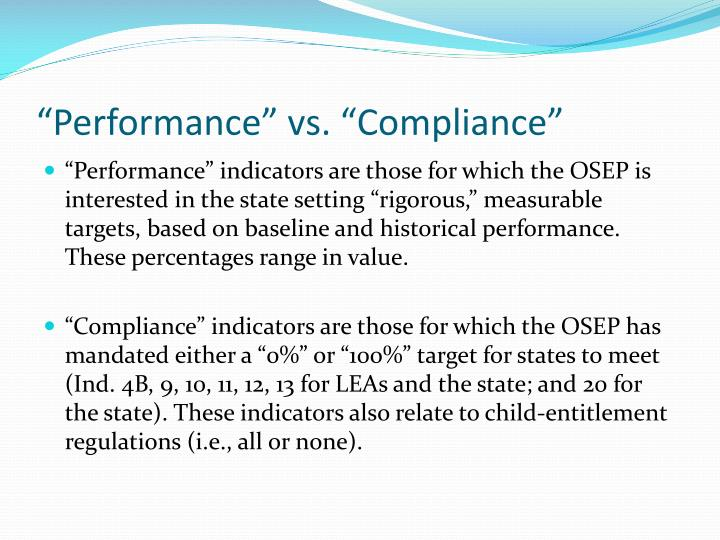"""Performance"" vs. ""Compliance"""