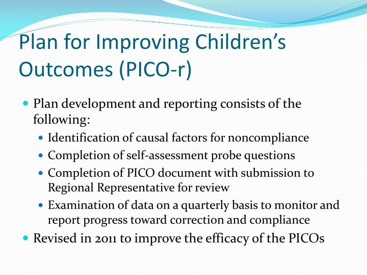 Plan for Improving Children's Outcomes (PICO-r)