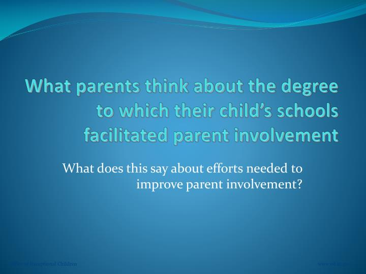 What parents think about the degree to which their child's schools facilitated parent involvement
