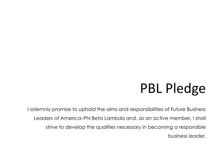 PBL Pledge