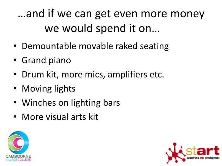 …and if we can get even more money we would spend it on…