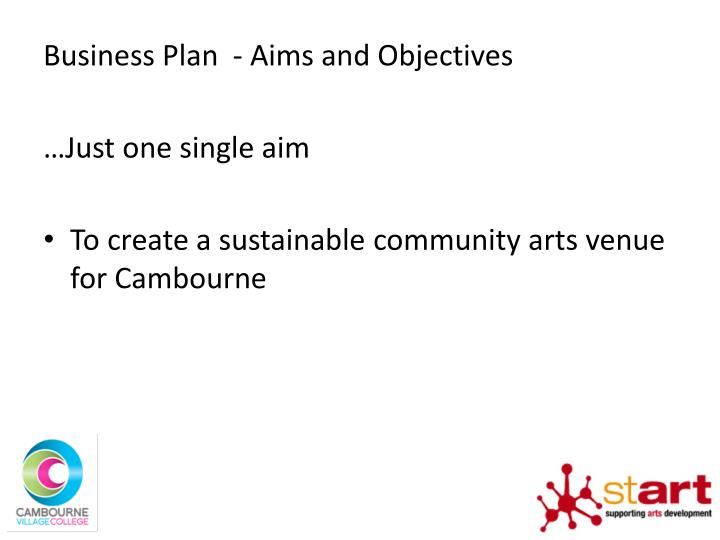 Business Plan  - Aims and Objectives
