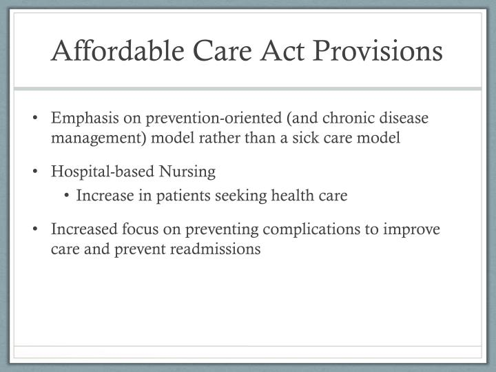 Affordable Care Act Provisions