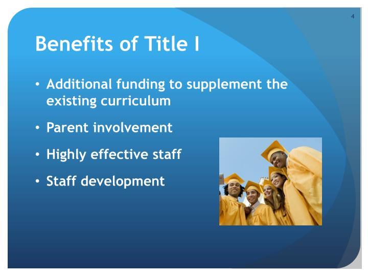 Benefits of Title I