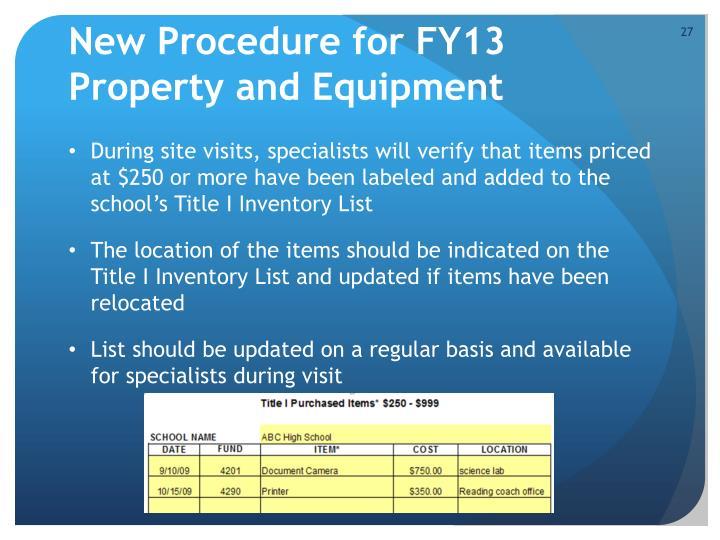 New Procedure for FY13