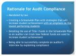 rationale for audit compliance