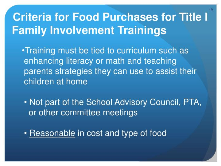 Criteria for Food Purchases for Title I