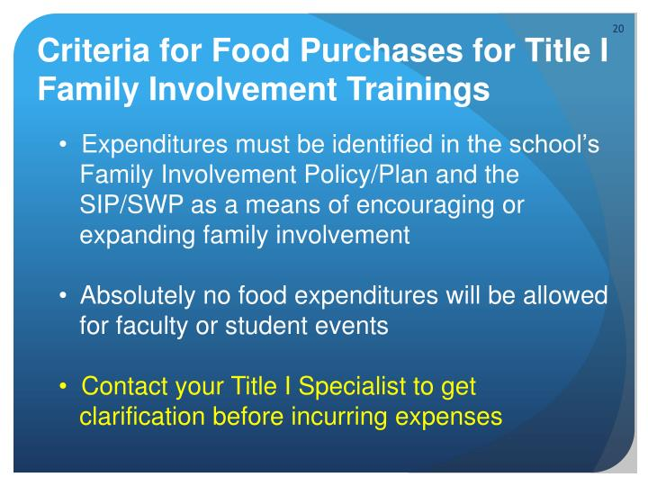 Criteria for Food Purchases for Title