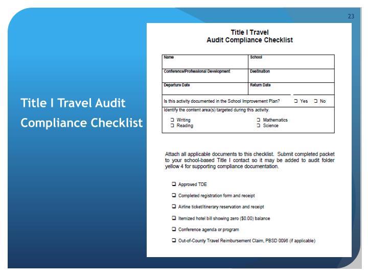 Title I Travel Audit