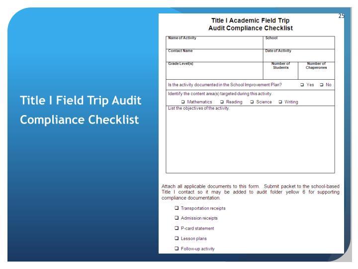 Title I Field Trip Audit
