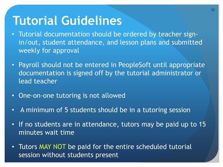 Tutorial Guidelines
