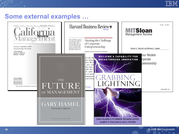 Some external examples …