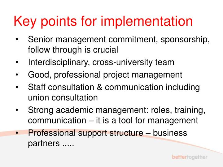 Key points for implementation