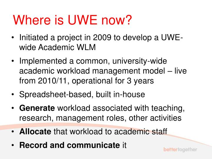 Where is UWE now?
