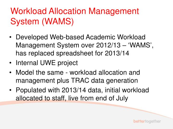 Workload Allocation Management System (WAMS)