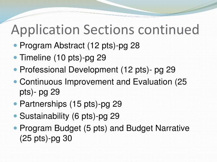 Application Sections continued
