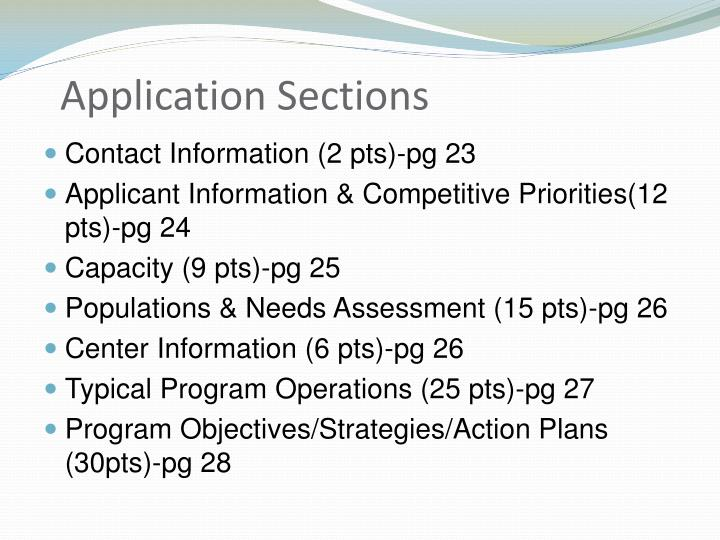 Application Sections
