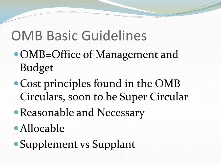 OMB Basic Guidelines