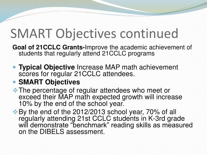 SMART Objectives continued