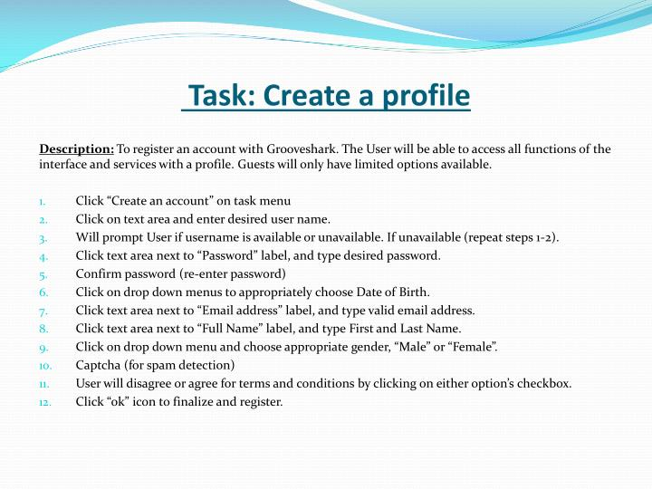 Task: Create a profile