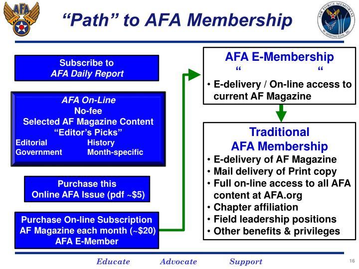 """""""Path"""" to AFA Membership"""