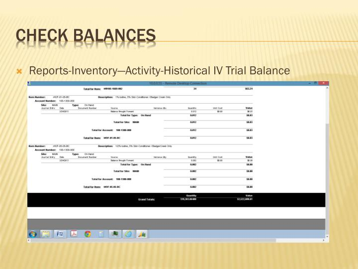 Reports-Inventory—Activity-Historical IV Trial Balance